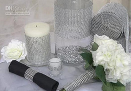 Wholesale One roll inch Bling Diamond mesh Wrap ribbon Rhinestone Mesh Crystal Ribbon