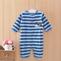 Wholesale Stripe yarn dyed fabric jumpsuit climb clothes ha clothing blue stripe whale jumpsuits at least