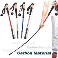 Wholesale New Ultra light carbon cork handle Retractable Trekking canes adjustable walking hiking sticks for outdoor