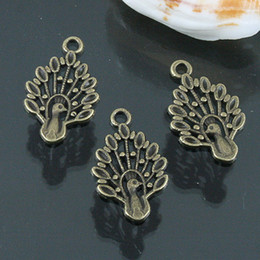 54pcs antiqued bronze color peacock design charms EF0563