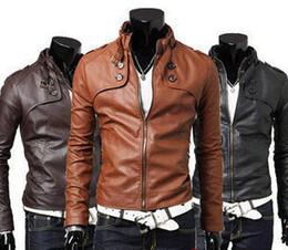 Wholesale New Fashion Men Slim Short Jacket Casual Jacket Collar Men PU Leather Machine Wagon Jacket SF08