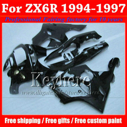 Customize motorcycle fairings for KAWASAKI Ninja ZX6R 1994 1995 1996 1997 all glossy black fairing kit ZX 6R 97- 94 with 7 gifts Rf2