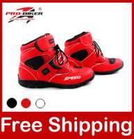 Wholesale Motorcycle Boots Pro biker SPEED Bikers Moto Racing Boots Motocross Leather Shoes A005 black white red