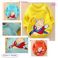 Wholesale Hot spring Autumn new children bear cubs buckle shoulder sweater children cartoon sweater