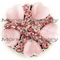 al por mayor botones de color de rosa caliente-A18030 OEM, ODM venta caliente noosa rosa botón botón de chasquido para noosa cuero pulsera
