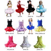 Girl Spring / Autumn Sleeveless Wholesale Children Girls Pettiskirt Set Baby Ruffle Petti Tank Tops And Solod Color TUTU Skirt Set Kids Clothes 5 set
