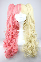 Wholesale 70cm cm Long Yellow and Pink Mixed Beautiful lolita wig Anime Wig