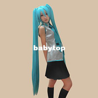 Cheap Free shipping extra long straight anime cosplay wigs miku characters wig resistant synthetic fiber