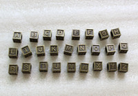 Letters & Numbers bead letter w - 52PCS Antiqued bronze alphabet letter cube beads w big hole