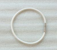 12PCS White Rubber Cord Silver Bayonet Clasp Bracelets #2348...