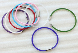 8PCS Mixed Colours Of Rubber Cord Silver Bayonet Clasp Bracelets #23496