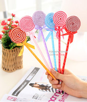 Wholesale Cheap Writing School Supplies Fine Cute Ballpoint Pens Colorful Lollipops with bows Ball Pens Cute lovely Pens As Gift