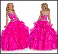 Halter Beads Organza Perfect Angels 2014 New Arrival beaded bodice fuchsia pink kids pageant dresses Flower Girl Dresses