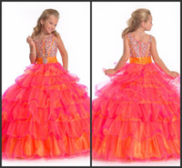 Wholesale Perfect Angels New Arrival Iridescent full length beaded crystal kids pageant dresses Flower Girl Dresses