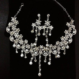 Wholesale Rhinestone Necklace Earring Set Bridal Wedding Party Jewelry Wedding Accessories Bridal Accessories