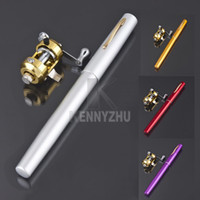 Wholesale Mini Portable Pocket Aluminum Alloy Fish Rod Pole Reel Fishing Pen Mixed Color