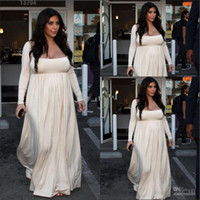 Organza Long Sleeve Sweep Train 2013 Kim Kardashian Maternity Dress big size women dress evening dresses for pregnant women