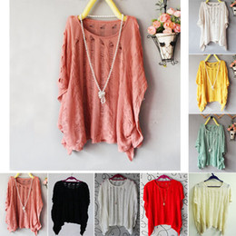 Wholesale New Womens Batwing Casual Loose Hollow Asymmetric Knit Blouses Cardigan Tops