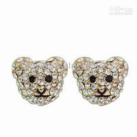 Wholesale Cute Little Bear Alloy with Crystal Earrings