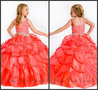 straps angels coral - Perfect Angels New Arrival Iridescent full length coral beaded organza kids pageant dresses Flower Girl Dresses infant dresses