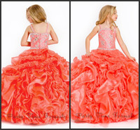 Beads angels coral - Perfect Angels New Arrival Iridescent full length beaded organza coral color kids pageant dresses Flower Girl Dresses infant dresses