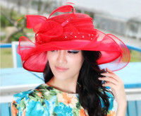 Red Printed Casual women's elegant church hats sinamay hat sinamay fabric winter hair flower accessories top hat with organza women hats red hat