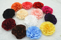 Wholesale Baby girl quot satin ribbon flowers silk rosetted rose flower Layered DIY Hair flowers WITHOUT clip hair accesories
