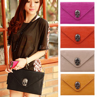 Wholesale Women Vintage Cool Punk Skull Clutch Envelope Handbag Purse Chain Shoulder Bag bx38
