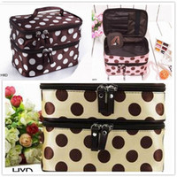 Box Polyester  Women Retro Dot Beauty Case Makeup Set Large Cosmetic Tool Storage Toiletry Bag