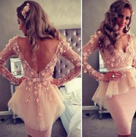 Wholesale Long Sleeve V Neck Myriam Fares Friendtube Sheath Knee Length Celebrity Dress