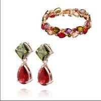 Wholesale Fashion Jewelry Sets K gold plated Austrian Crystal Charm Bracelet amp drop earrings Swarovski Elements wedding gift