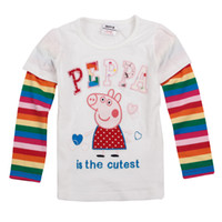 Wholesale F4113 New arrival m y casual autumn Girls shirts Peppa Pig embroidery clothing cotton long sleeve plain t shirts pieces per
