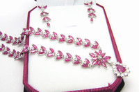 Wholesale Jewelry set Natural ruby silver plated k white gold Perfect jewelry DH