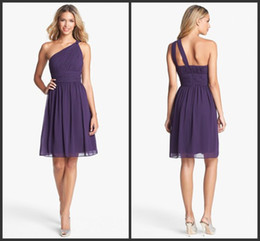 Wholesale 2013 In Stock OFF Purple Fashion One Shoulder Chiffon Ruched Bridesmaid Dresses Prom Party Dress