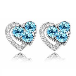 Wholesale silver jewelry pair loving women girls loving double heart amp Ocean blue crystal earrings stud Best girls gift