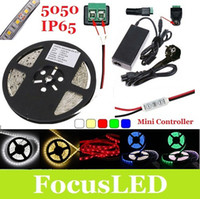 Wholesale 5M SMD Leds Waterproof Led Light Strip Red Green Blue Warm Cool White Mini Dimmer V A Power Adapter With EU US UK AU Plug