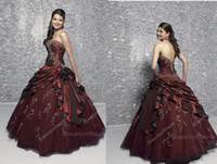Ball Gown hand embroidery dresses - custom made strapless embroidery Burgundy gown beads waist hand made flowers with side strap quinceanera dress HSC