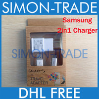 Wholesale 2 in Charger Kit Sets US EU Wall Charging Adapter MICRO USB Data Sync Cable For Samsung Galaxy S4 I9500 S3 I9300 Note2 N7100 White