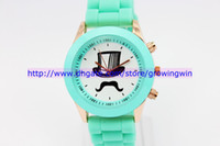 Wholesale 2013 styles silicone fashion beard watch mustache magic hat jelly candy watches rose gold plated Bow tie quartz wrist watch