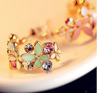 Wholesale New In pairs Korean Style Gold Plated Alloy Enamel Colorful Rhinestone Flower Hoop Butterfly Ear Stud Earrings E