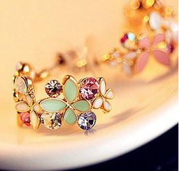 Wholesale New In pairs Korean Style Gold Plated Alloy Enamel Colorful Rhinestone Flower Hoop Butterfly Ear Stud Earrings E