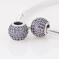 Metals pandora - 925 Sterling Silver Purple CZ Pave Charm Bead Fit European Pandora Jewelry Charms Bracelets Necklaces Pendants