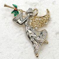 Men's african fairies - Fashion Trendy Christmas gift Brooches Clear Crystal Rhinestone Enamel Angel Fairy Brooch Pin Jewelry C2117