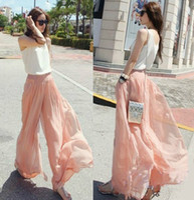 Wholesale Stylish Women Dockers Loose Chiffon Gauze Long Gaucho Trousers Dress Pants