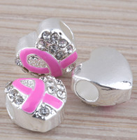 Alloy   30PCS LOT Heart Shape Pink Ribbon Enamel Silver Plated Big Hole European Beads Breast Cancer Awareness Beads Fit Charm Bracelet Findings
