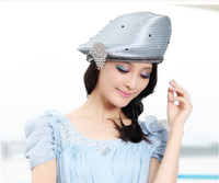 Wholesale Women Church Hat Kentucky Derby Hat Fashion Dress Hat Women Winter Dress Hat Design With Brooch Rhinestones Two Colors Available