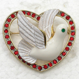 12pcs lot Wholesale Red Crystal Rhinestone Enamel Dove heart-shaped Brooch Pin Christmas Brooches pin Jewelry gift C2120