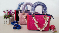 Wholesale 2013 New Fashion Bag HB Girl Handbag Diana Style Lady Mini Bags Girls Pearls Sling Bags with Metal Letters