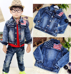 Wholesale 2013 Autumn Children Coats Boys Shoulder Stitching Design Denim Jacket Coats Kids Coats