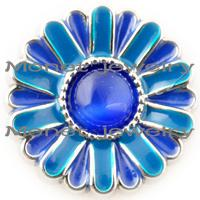 american sunflower - A19011 blue sunflower noosa chunks for noosa leather bracelet